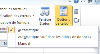 Excel 2010 - Options de calcul : Mode Automatique